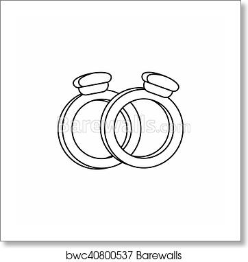 Art Print Of Wedding Rings Icon Outline Style Barewalls Posters