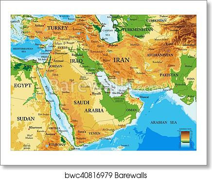 Middle East-physical map art print poster