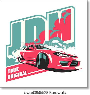 Art Print Of Burnout Car Japanese Drift Sport Jdm Barewalls