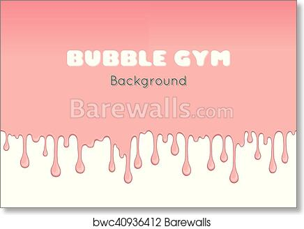 Art Print Of Background With Pink Bubble Gum.