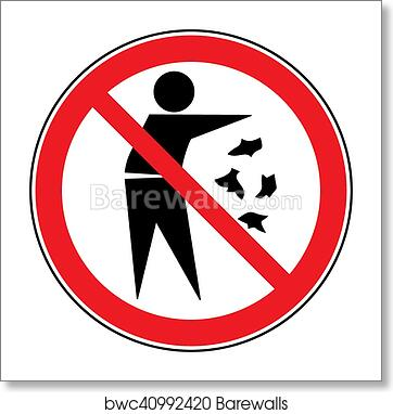 photograph about Trash Sign Printable referred to as No trash indication artwork print poster