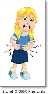 little girl cartoon stomach ache art print barewalls posters prints bwc41013859 little girl cartoon stomach ache art print poster