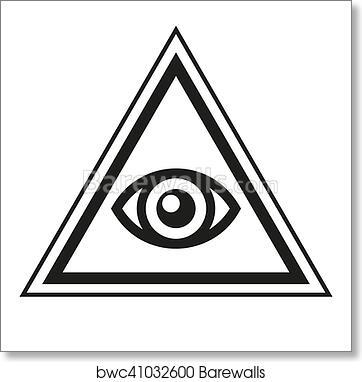 Art Print Of Masonic Symbol All Seeing Eye Inside Pyramid Triangle