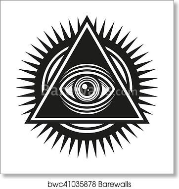 Art Print Of Masonic Symbol All Seeing Eye Inside Pyramid Triangle Icon Vector