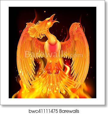 art print of phoenix bird rising from ashes barewalls posters