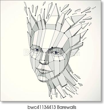 Art Print of Face of a thinking woman created in low poly style and ...