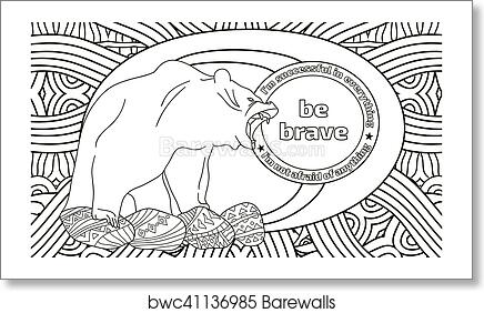 Coloring Pages For Adults With The Lettering Be Strong Line Art Doodling Art Print Poster
