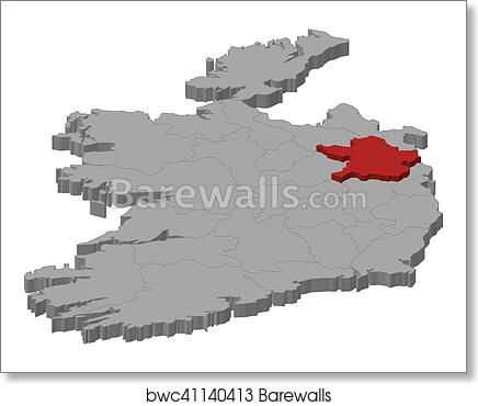 Print Map Of Ireland.Map Ireland Meath 3d Illustration Art Print Poster