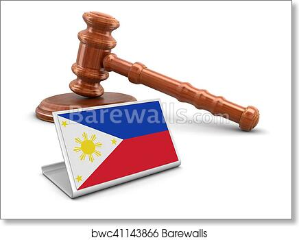 Art Print Of Wooden Mallet And Philippine Flag Barewalls Posters