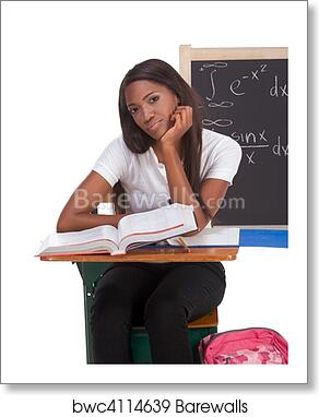 Art Print Of Black College Student Woman Studying Math Exam