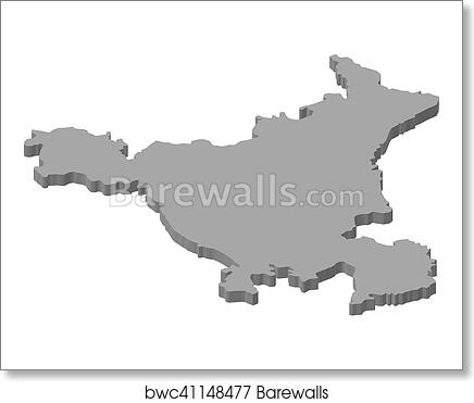 Map - Haryana (India) - 3D-Illustration art print poster