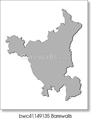 Map - Haryana (India) art print poster