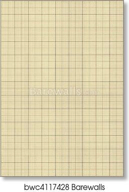 art print of old sepia graph paper square grid background