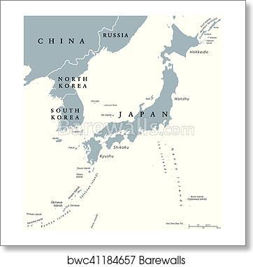 Korean peninsula and Japan countries political map art print poster