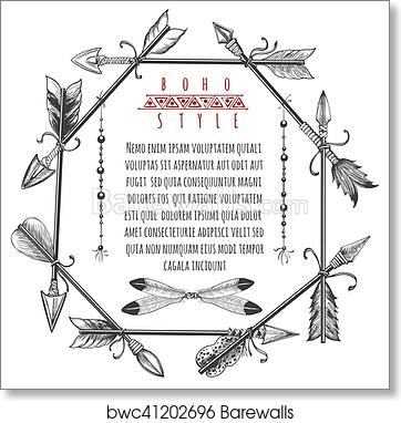 art print of vintage arrows and feathers frame barewalls posters