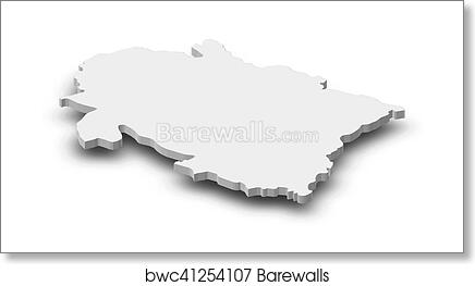 Map - Uttarakhand (India) - 3D-Illustration art print poster