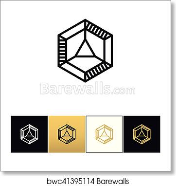 Cube 3d brick logo vector icon art print poster