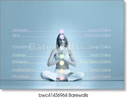 Young woman meditating in a lotus position art print poster