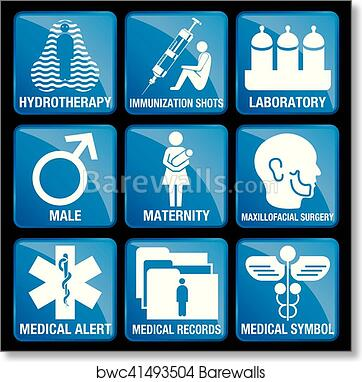 Art Print Of Set Of Medical Icons In Blue Square Background