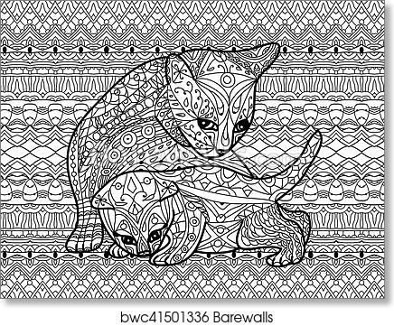 Zendoodle Coloring Book For Adults. Mother Cat With Kitten, Art Print  Barewalls Posters & Prints Bwc41501336