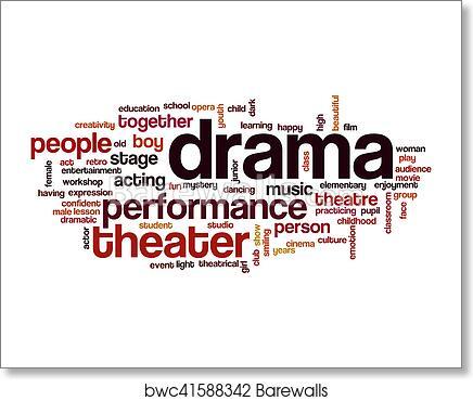 Drama word cloud art print poster