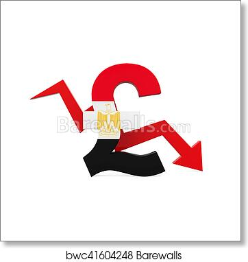 Art Print Of Egyptian Pound Symbol And Red Arrow Barewalls Posters