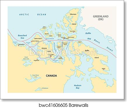 Art Print of Northwest passage map | Barewalls Posters & Prints ...