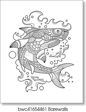 Shark Coloring Book For Adults Vector Art Print Poster