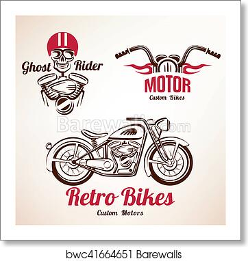 Art Print Of Motorbikes Emblems And Labels Set Retro Motorcycle