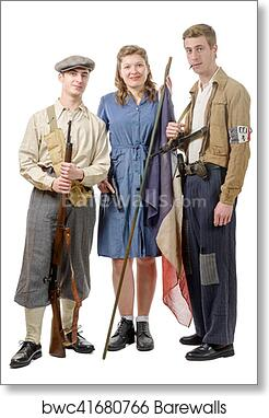 Three young French Resistance, vintage clothes and weapons, reenactment art  print poster