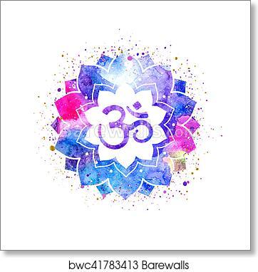 Om Sign In Lotus Flower Art Print Barewalls Posters Prints