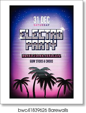 Electro party poster  Retro 80s neon background  Disco flyer template   Vertical format  Tv glitch effect  art print poster