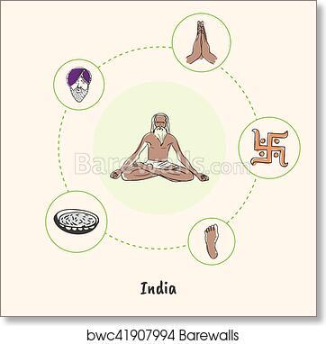 Art Print Of Indian National Symbols Doodle Vectors Collection