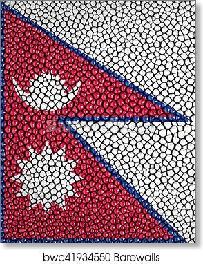 Art Print of Nepal Flag painted on stingray skin texture Barewalls
