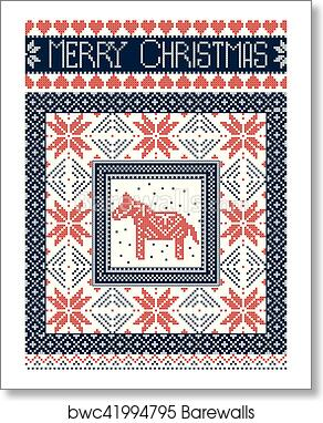 Merry Christmas In Norwegian.Merry Christmas Scandinavian Style Card Inspired By Norwegian Christmas Festive Winter Seamless Pattern In Cross Stitch With Swedish Dala Horse
