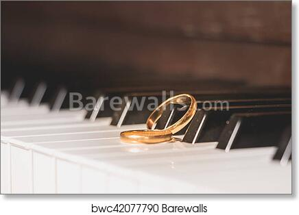 Art Print Of Wedding Rings Piano Key
