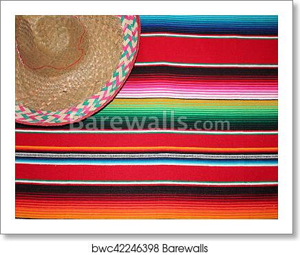 Art Print Of Mexico Mexican Traditional Cinco De Mayo Rug Poncho Fiesta Background With Stripes