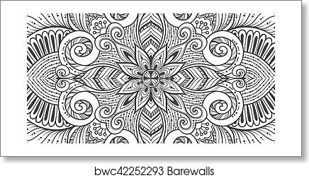 Art Print Of Asian Ethnic Floral Retro Doodle Black And White