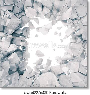 3d rendering, explosion, broken concrete wall, cracked earth, bullet hole,  destruction, abstract background with volume light rays  art print poster