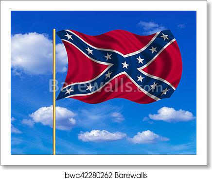 Art Print Of Confederate Rebel Flag Wavy On Blue Sky Background