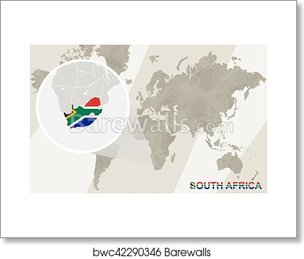 Art print of zoom on south africa map and flag world map art print of zoom on south africa map and flag world map gumiabroncs Choice Image