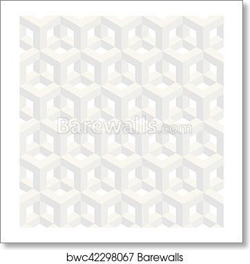 Isometric Seamless Pattern 3d Optical Illusion Background Art Print Barewalls Posters Prints Bwc42298067