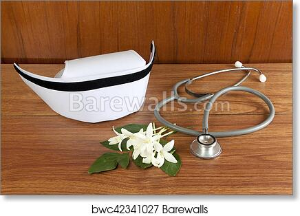 Art Print Of Hat Nurse White And Stethoscope Barewalls Posters