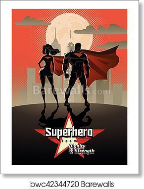 art print of poster superhero couple male and female superheroes
