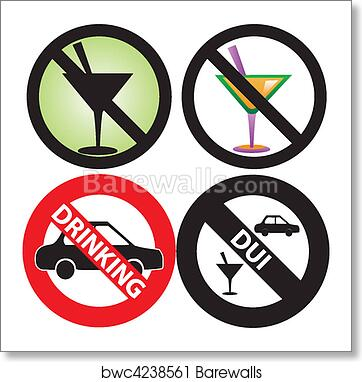 No Drinking Sign 2 art print poster