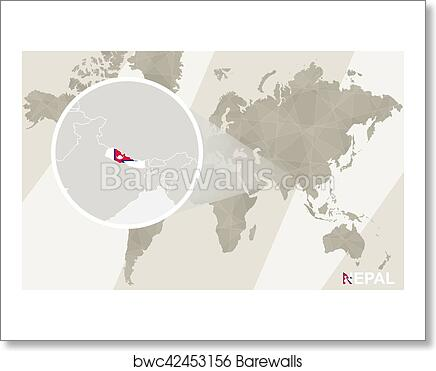 Nepal In The World Map.Art Print Of Zoom On Nepal Map And Flag World Map Barewalls