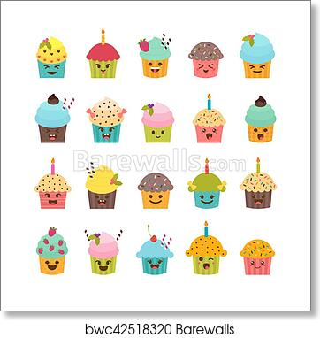 Set Of Cupcakes And Muffins Cute Cartoon Characters Emoji Birthday Icons Desserts Kawaii Art Print