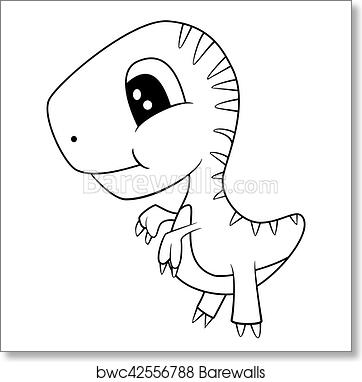Art print of cute black and white cartoon of baby t rex dinosaur