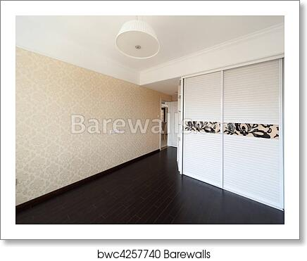 Empty Bedroom With Droplamp And Cabinet Art Print Barewalls