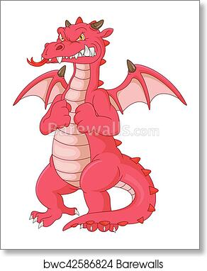 art print of angry dragon cartoon barewalls posters prints